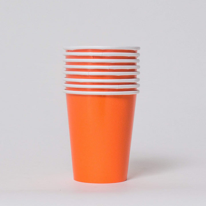 Plain Orange Paper Cups (8 Pack)