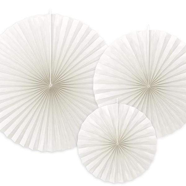 White Paper Fan Rosettes
