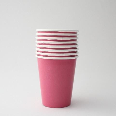 Plain Rose Pink Paper Cups (8 Pack)