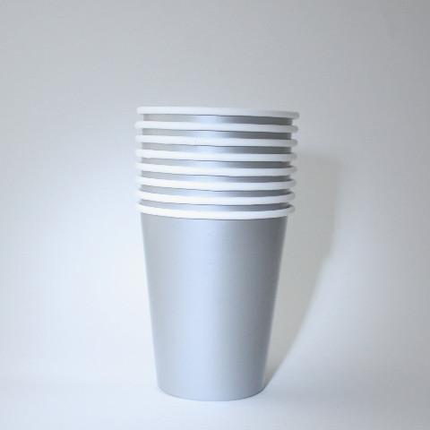 Plain Silver Paper Cups (8 Pack)