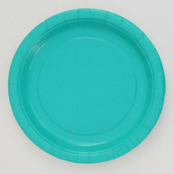 Plain Teal Paper Plates (8 pack)