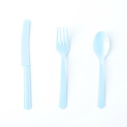 Pale Blue Plastic Cutlery