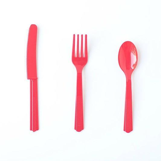 red Plastic Cutlery
