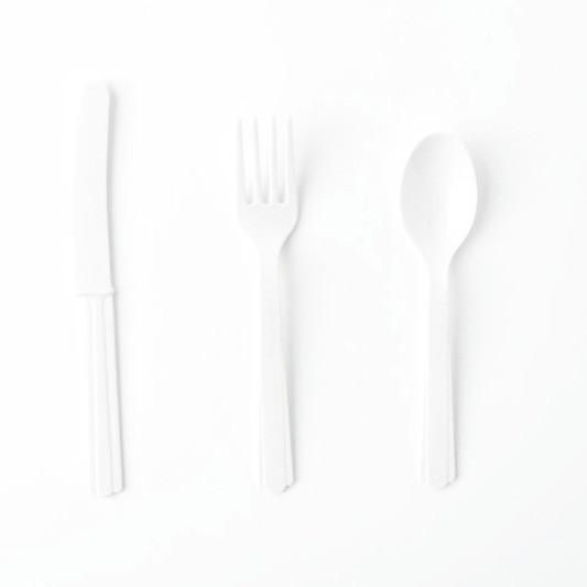 Plastic Cutlery: White (18 piece set)