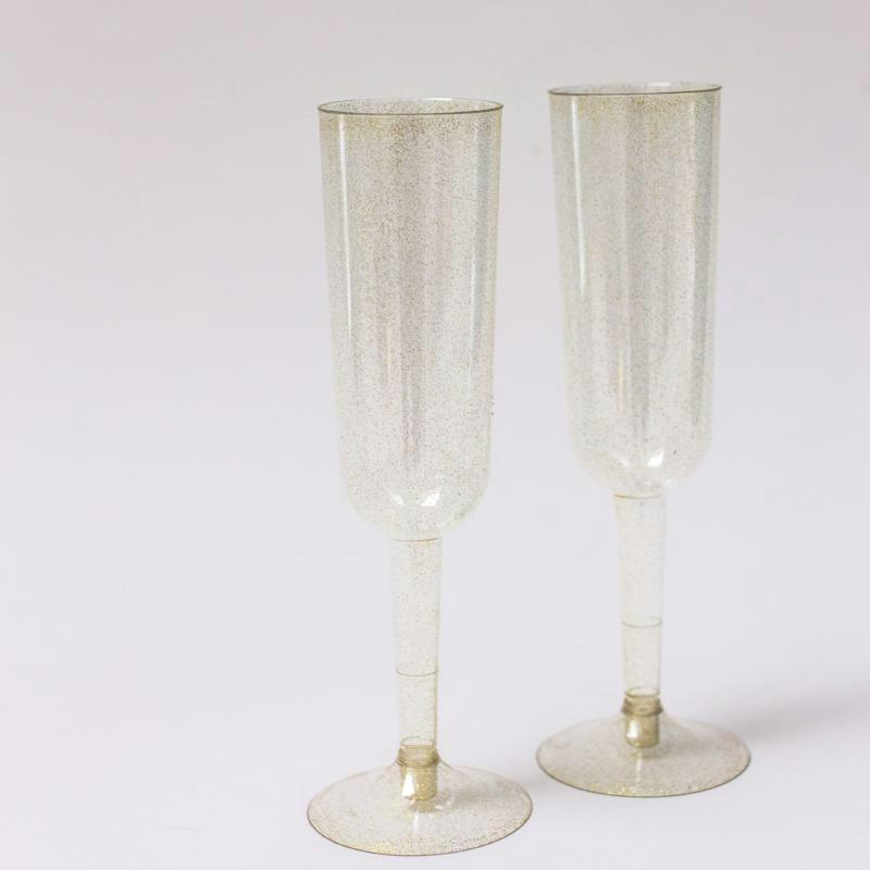 Gold Plastic Champagne Glasses | Disposable Glasses | Plastic Glassware