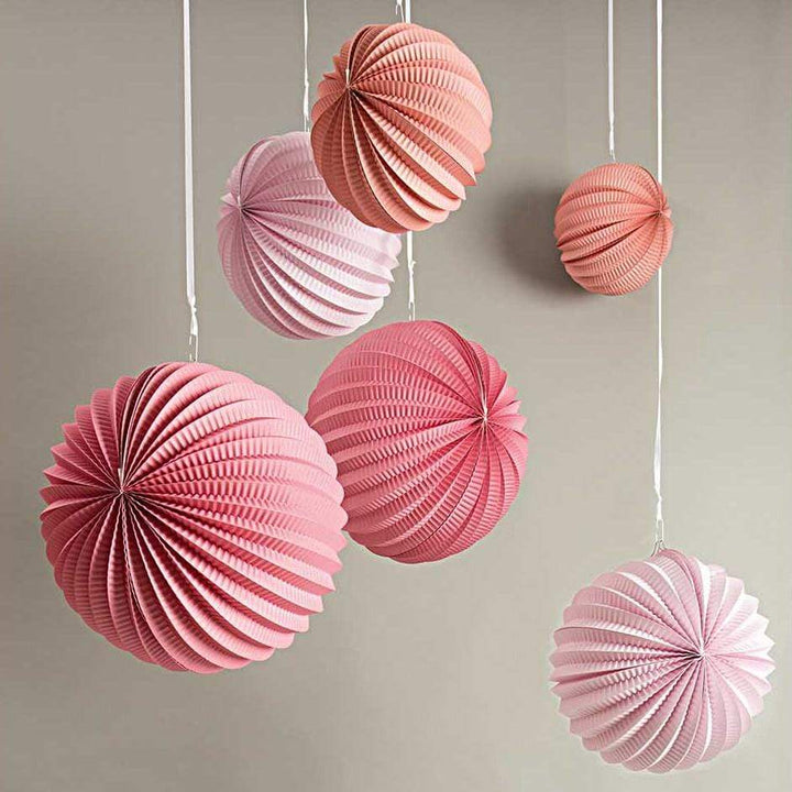 Pleated Paper Lanterns - Blush (3 pack)