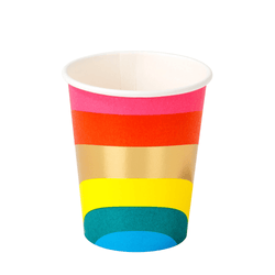Rainbow Stripe Party Cups (12 Pack)