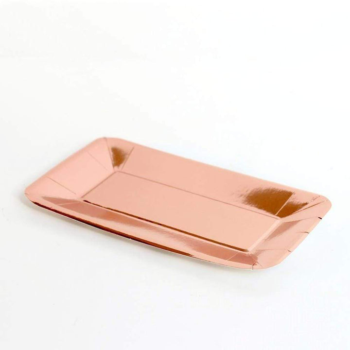 Rectangular Rose Gold Party Plates (8 pack)