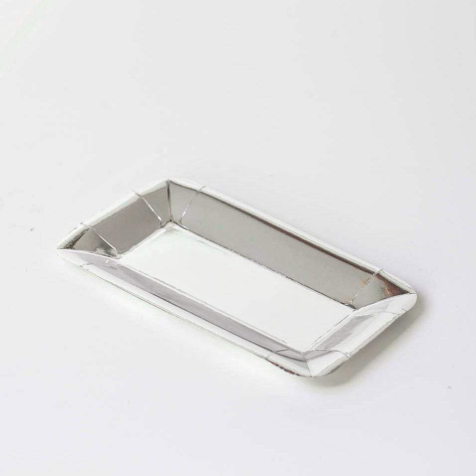 Silver rectangular party plates