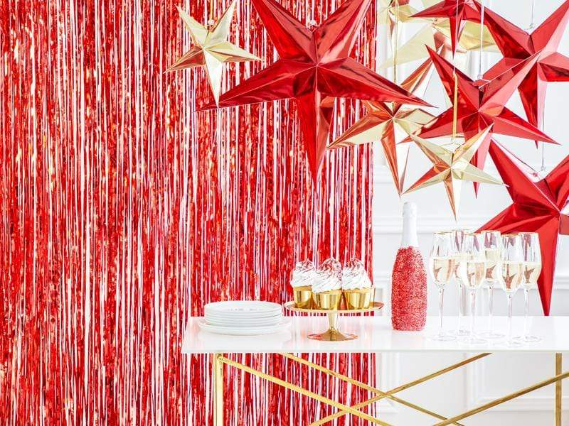 Red Hanging Star Decoration - 45cm