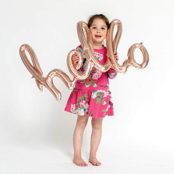 Rose Gold Hello Word Balloon | Script Balloons | Awesome Balloons UK