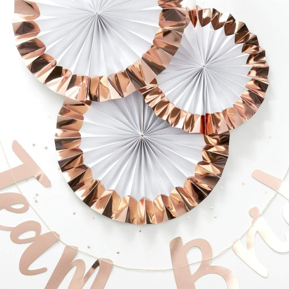 Rose Gold Paper Fans (Pack of 3)