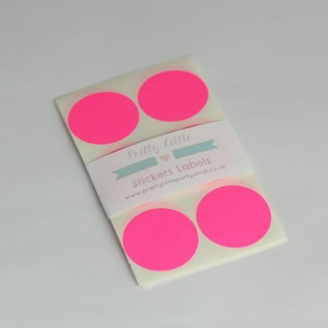 Neon Pink Circle Sticker Label