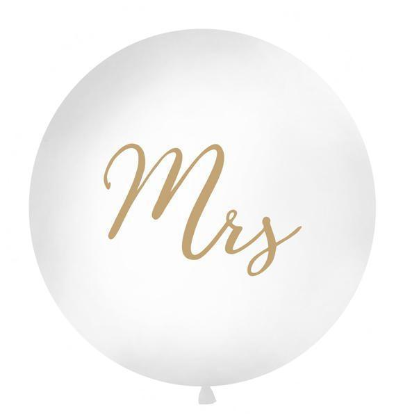 Round Wedding Balloon - Gold Mrs