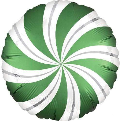 Satin Candy Swirl Balloon - Emerald Green