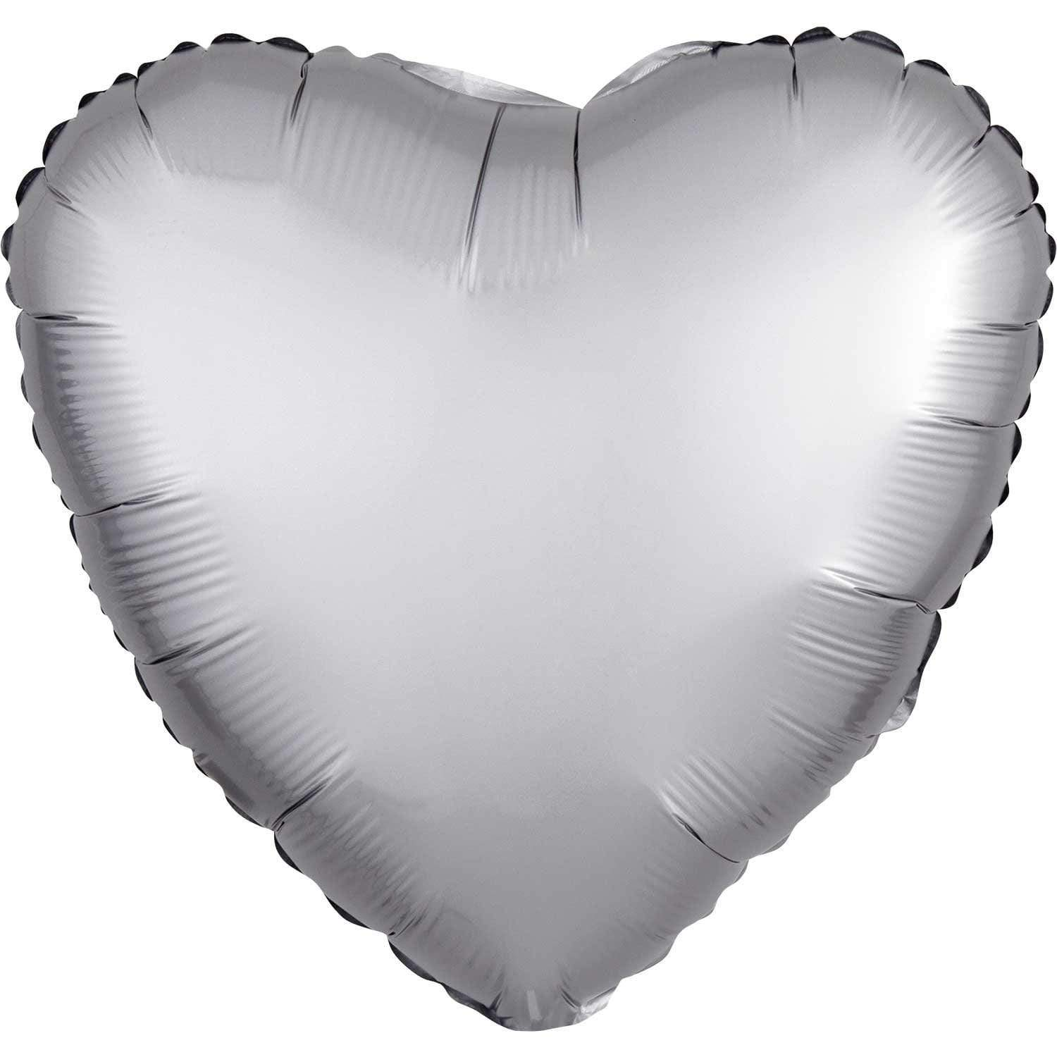 Silver Satin Foil Heart Balloon
