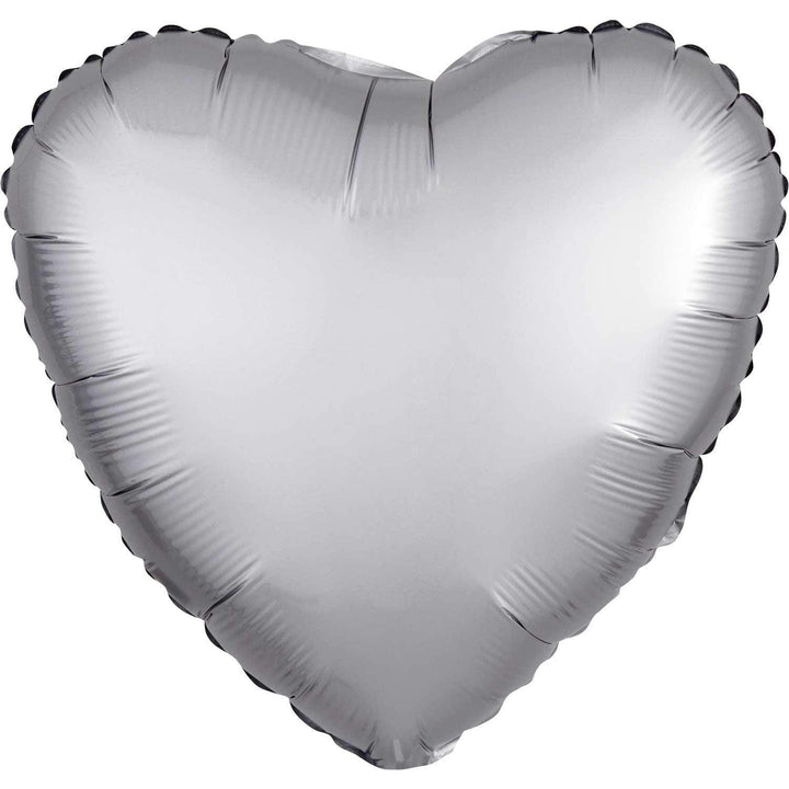 Satin Heart Balloon - Platinum Silver