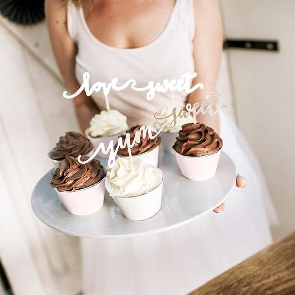 Script Cupcake Toppers - Gold