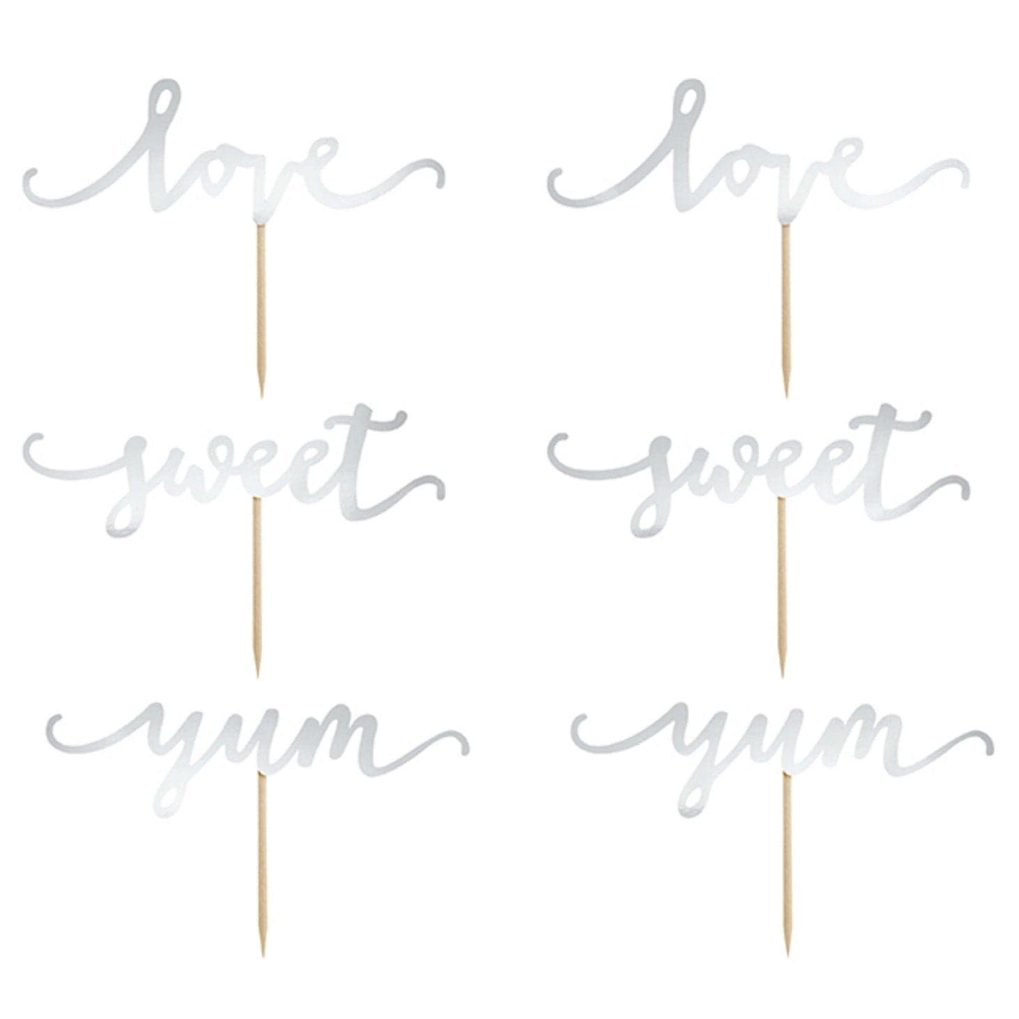 Love Script Cupcake Toppers | Wedding Supplies