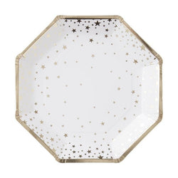 Shimmering Stars Plates Gold (8 pack)