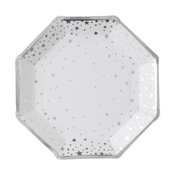 Shimmering Stars Plates Silver (8 pack)