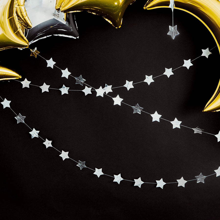 Silver Star Garland for Christmas Parties and Events