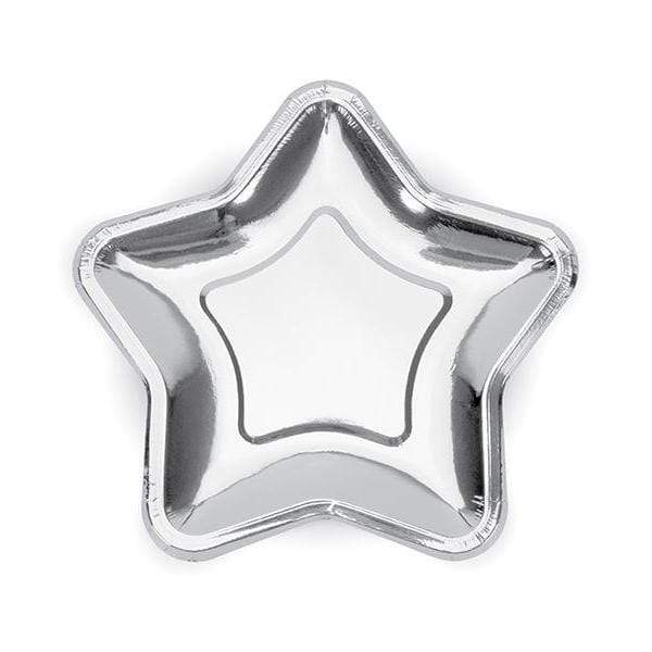 Shiny Star Paper Plates Silver (6 pack)