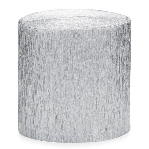 Silver Crepe Paper Streamers (4 pack)