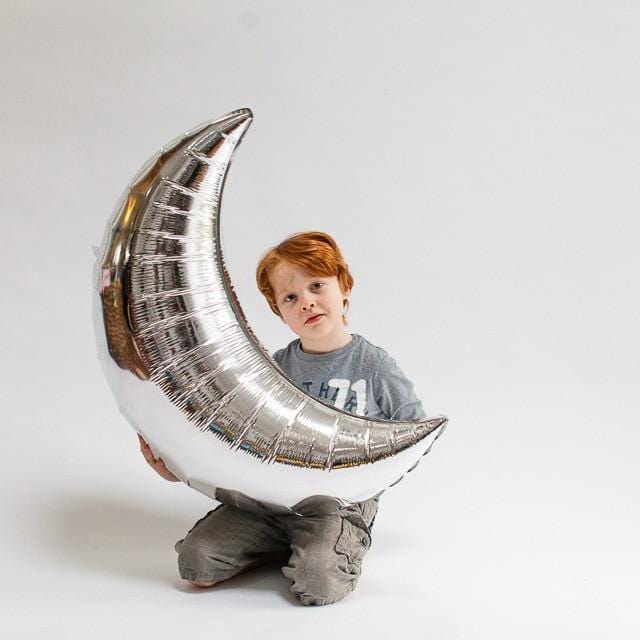 Crescent Moon Balloon Silver | Foil Balloon | Qualatex Balloons