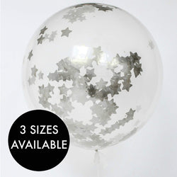 Silver Stars Confetti Filled Balloon
