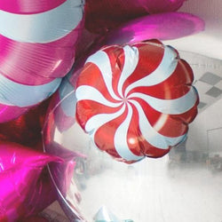 Small Candy Swirl Balloon - Red