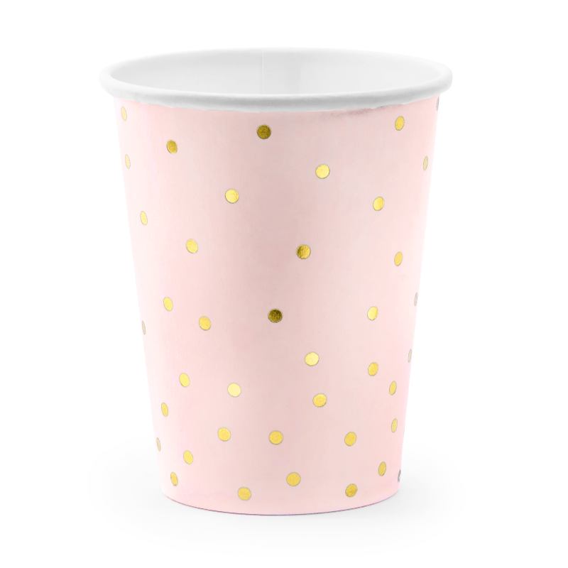 Blush & Gold Polka Paper Cups | Party Deco | Pink Party Supplies