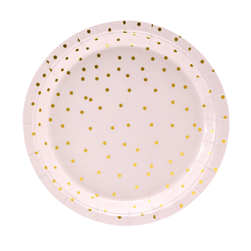 Blush & Gold Polka Paper plates | Party Deco | Pink Party Supplies