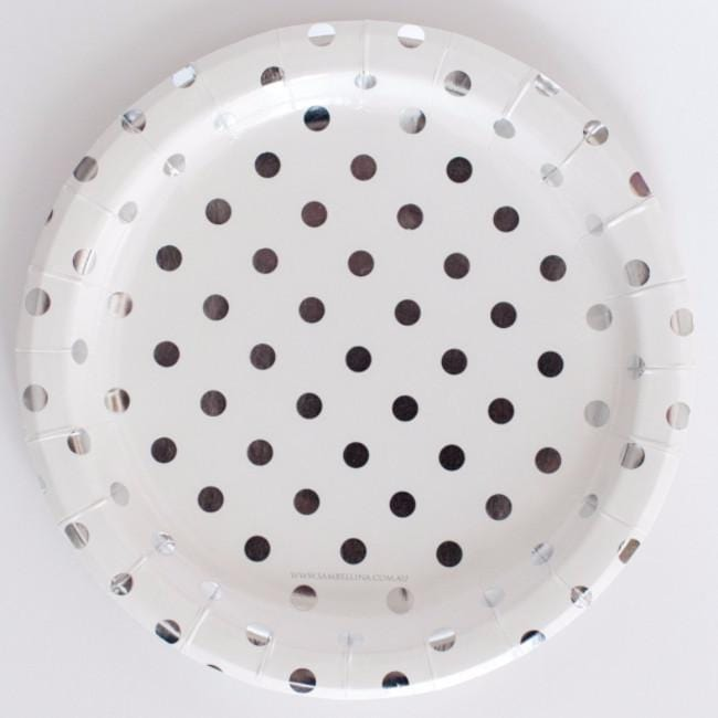 White Plates with Silver Foil Dots