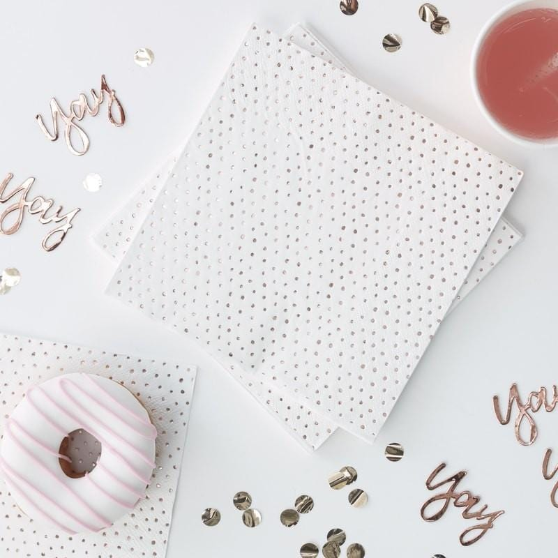 Rose Gold Spotty Party Napkins | Weddings | Ginger Ray