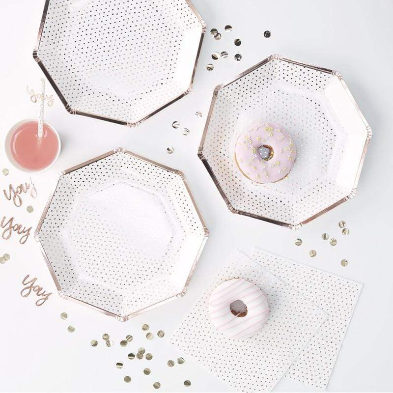Rose gold Spotty Party Plates