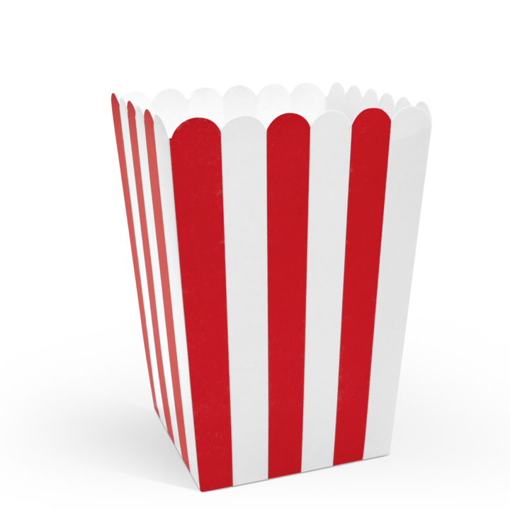 Striped Popcorn Boxes (6 pack)