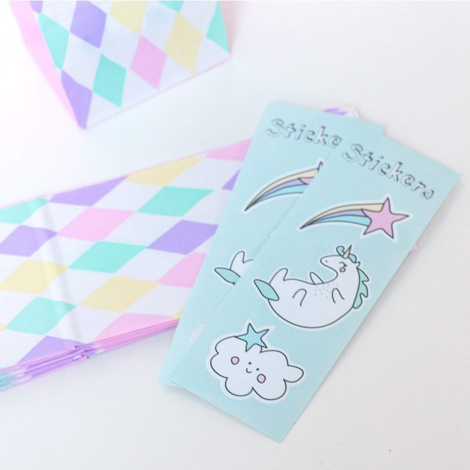 Unicorn party bags and Stickers
