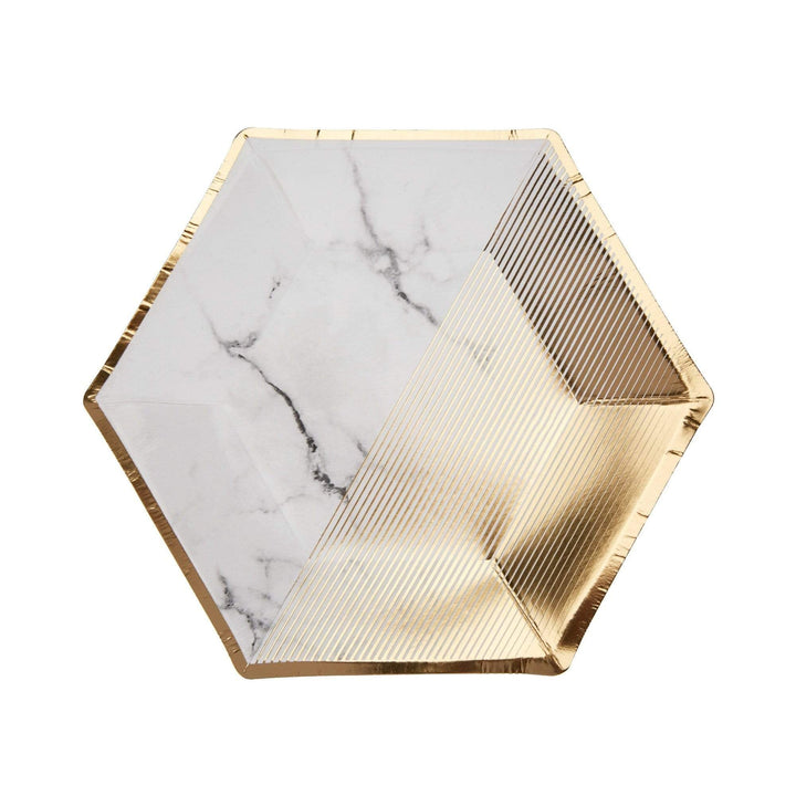 White & Gold Marble Plate Small (8 Pack)