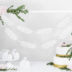 White Leaf Garland Backdrop (20 piece)
