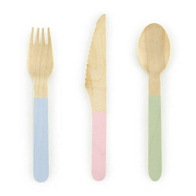 Pastel Wooden Disposable Cutlery | Natural wooden Cutlery Set for Parties
