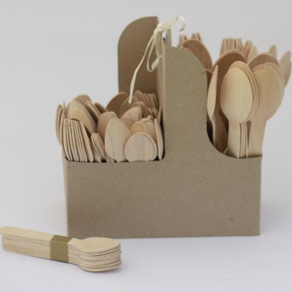 Wooden Teaspoons | Disposable Cutlery | Natural Eco Party Supplies UK