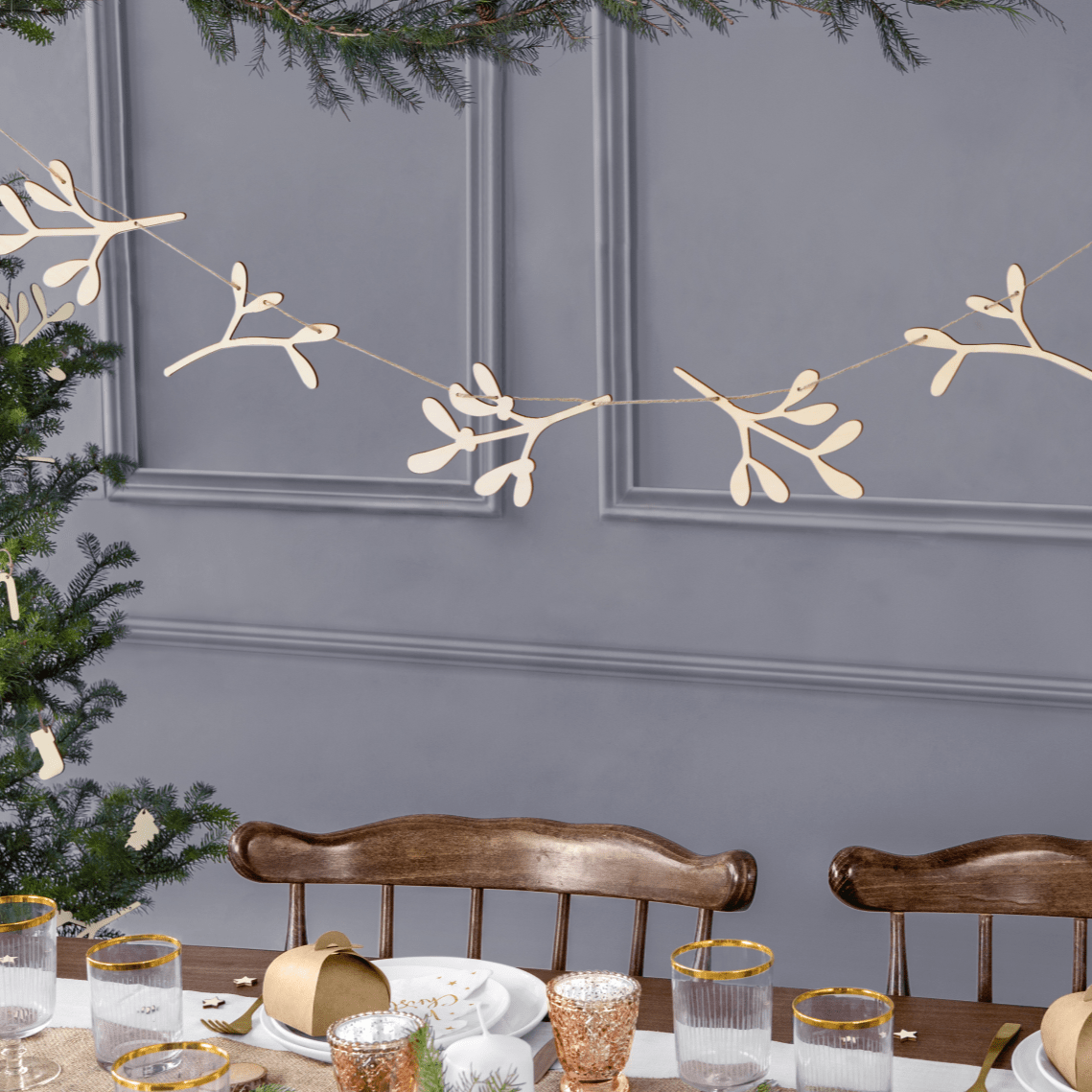 Wooden Mistletoe Christmas Garland | Scandi Style Christmas Decorations