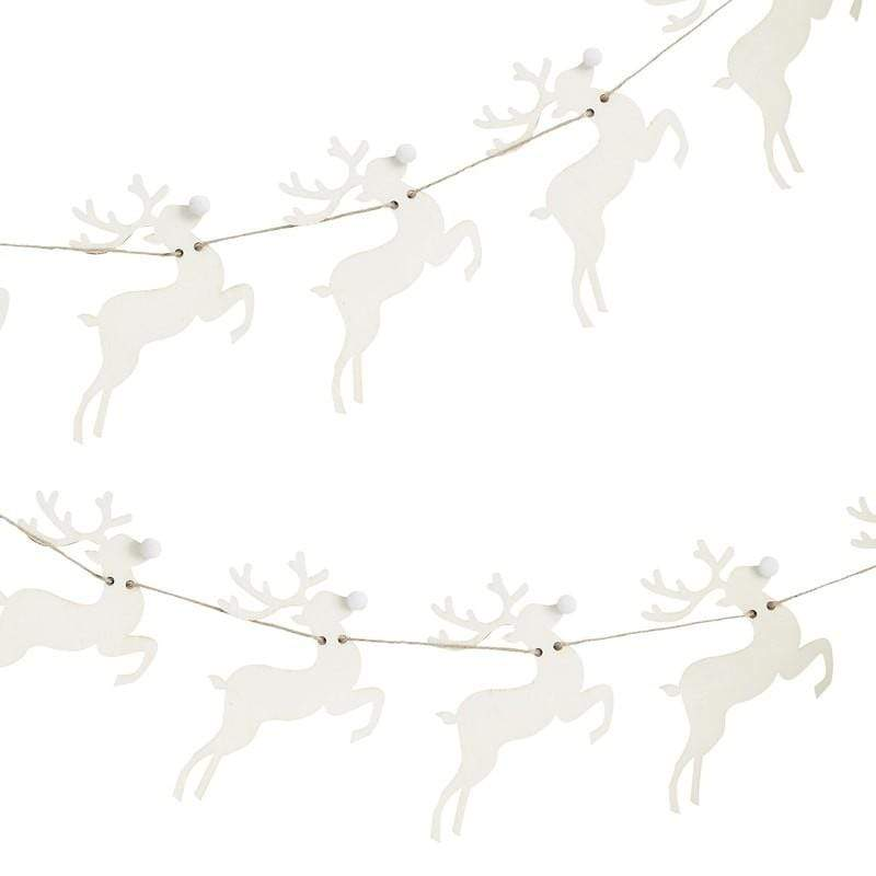 Wooden Reindeer Garland Wooden Decorations | Scandi Style Christmas
