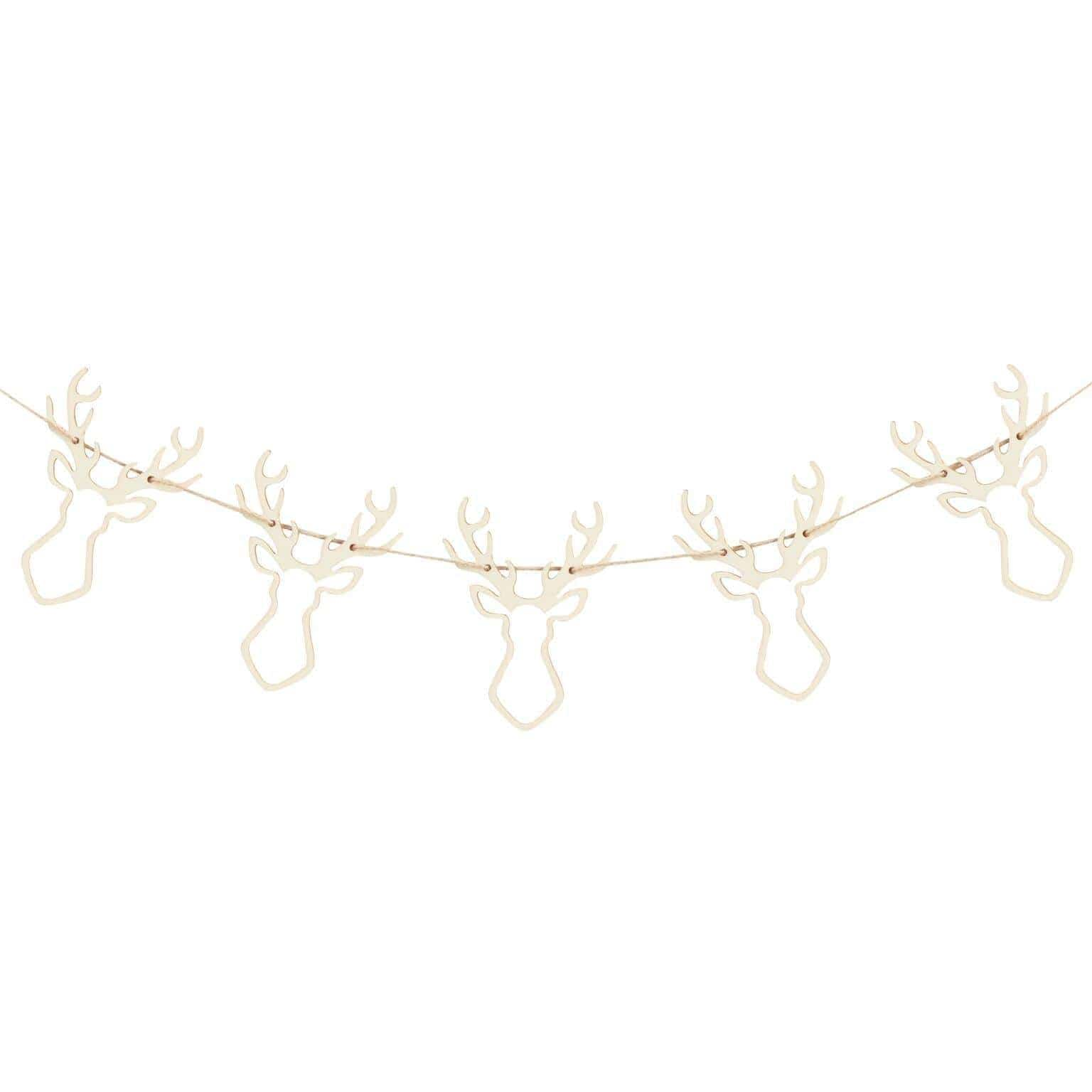 Wooden Stag Garland | Scandi Style Christmas Decorations UK
