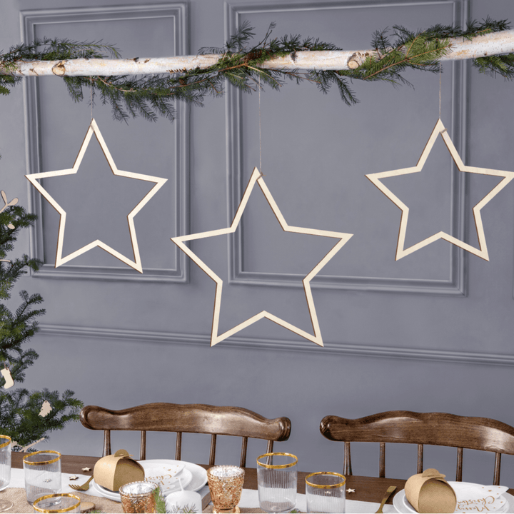 Wooden Star Decorations (3 Pieces)