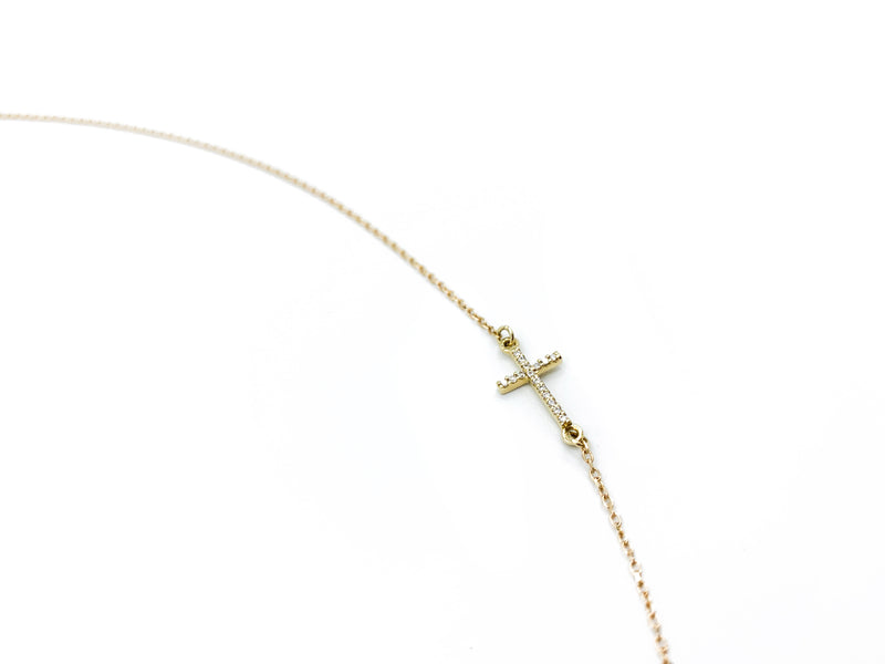Sideways Pave Diamond Cross Gold Necklace