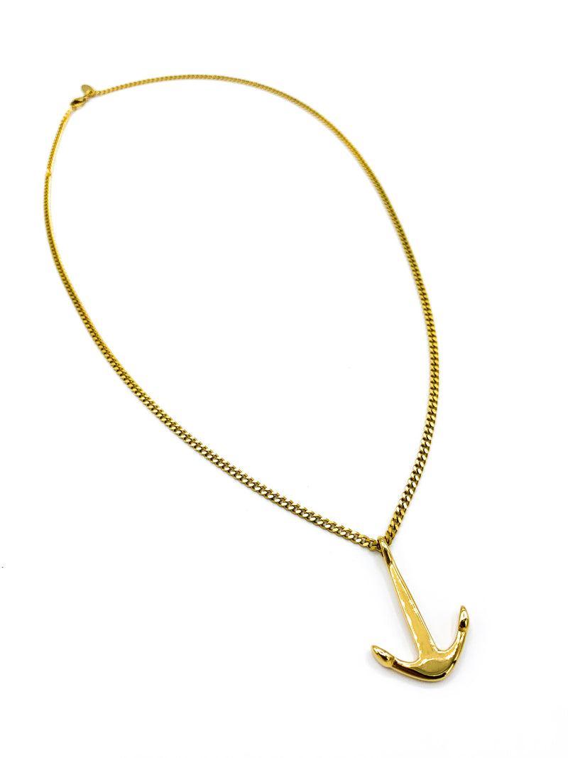 Gold Admiralty Anchor Necklace