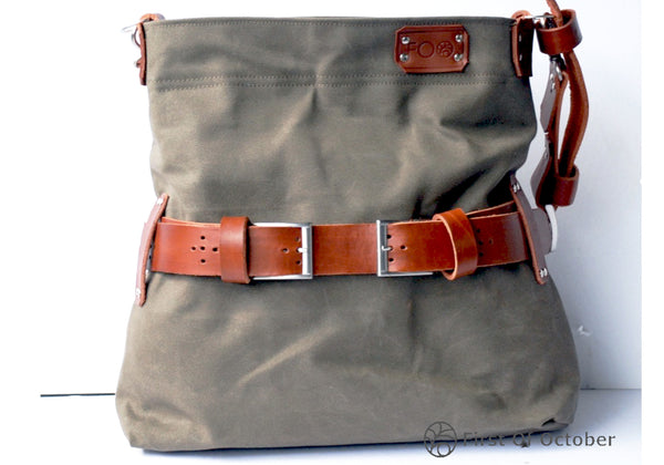 11074  shoulder bag belt green/cognac