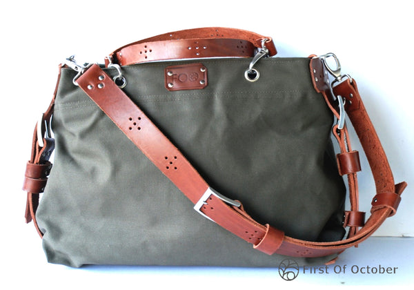 11077  handbag green/cognac
